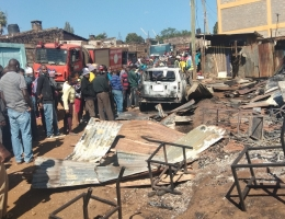 Scene  of the morning fire in Kerugya town at a Jua Kali workshop